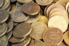 Fond des pièces de monnaie de dix-rouble Images libres de droits