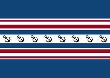 Fond des rayures rouges, blanches et bleues avec une ancre Bannière bleue avec l'espace de copie illustration libre de droits