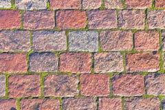 Fond des rectangles de granit étendus avec de la mousse verte, trottoir image stock