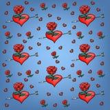 Fond des roses et des coeurs Images stock