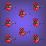 Fond des roses et des coeurs de fleurs Photographie stock