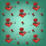 Fond des roses et des coeurs de fleurs Images libres de droits