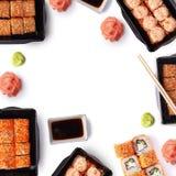 Fond des sushi de maki de delivere avec l'espace de copie Image stock
