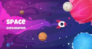 Fond des textes de l'espace Future décoration de planète de voyage de bannière de voyage de bande dessinée de la science de forme illustration stock