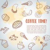 Fond des textes de temps de café Pâtisserie douce, petits gâteaux, affiche de dessert avec le gâteau de chocolat, bonbons Crème g Photos stock