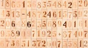 Fond des vieux nombres en bois photos stock