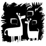 Fond dessiné par girafe avec les modèles intéressants Images stock