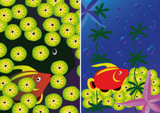 Fond deux sous-marin avec la mer tropicale Photos libres de droits