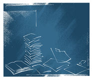 Fond - documents de bureau, symboles ouverts de livre Illustration de Vecteur