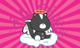 Fond doux de bande dessinée d'ange de mouffette d'ange illustration de vecteur