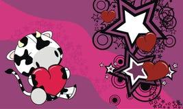 Fond doux de bande dessinée de coeur d'amour de vache à bébé Images stock