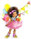 Fond drôle de vacances de fille et d'anniversaire Illustration d'aquarelle illustration stock