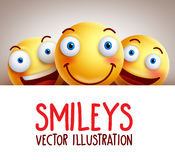 Fond drôle de vecteur de smiley heureux avec le sourire différent Photographie stock libre de droits