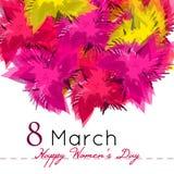Fond du jour des femmes heureuses avec des fleurs 8 mars Illustration de Vecteur