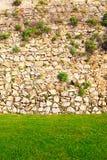 Fond du mur en pierre avec l'herbe Images stock