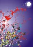 Fond du père noël avec des fleurs Image libre de droits
