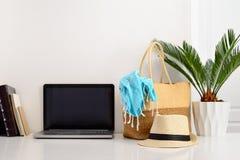 Fond du ` s de blogger d'été, vue de face Photo stock