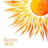 Fond du soleil d'été d'aquarelle Photographie stock libre de droits