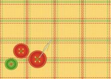 Fond du tissu checkered avec des boutons Photos libres de droits