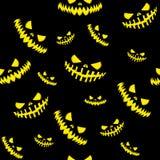 Fond effrayant de visage de conception de Halloween de potirons sans couture d'éléments illustration stock