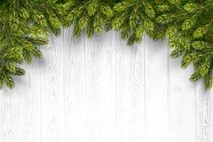 Fond en bois avec des branches de sapin Photo libre de droits