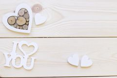 Fond en bois avec des décorations Photographie stock