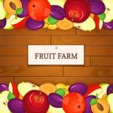 Fond en bois avec des fruits Illustration de vecteur Image stock