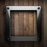 Fond en bois avec l'élément en métal Photos libres de droits