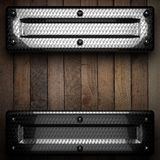 Fond en bois avec l'élément en métal Photo stock