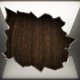 Fond en bois avec l'élément en métal Photo libre de droits