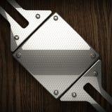 Fond en bois avec l'élément en métal Photographie stock libre de droits