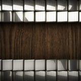 Fond en bois avec l'élément en métal Photographie stock
