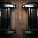 Fond en bois avec l'élément en métal Image stock