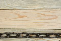 Fond en bois avec la cha?ne Copiez l'espace pour le texte image libre de droits