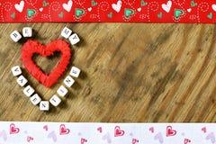 Fond en bois avec la forme de coeur Photographie stock libre de droits