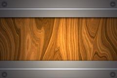 Fond en bois avec le plat métallique Photos libres de droits