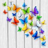 Fond en bois blanc avec les papillons multicolores Photographie stock libre de droits