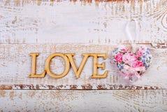 Fond en bois blanc d'amour Photos stock