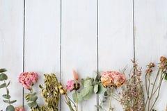 Fond en bois blanc sec de fleurs chics minables Photo stock