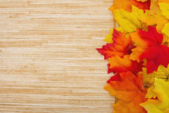 Fond en bois d'Autumn Leaves et de temps Photographie stock