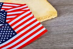 Fond en bois d'indicateur américain Le drapeau des Etats-Unis d'Amérique L'endroit à faire de la publicité, calibre Image stock