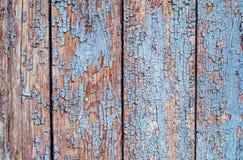 Fond en bois d'un vieil arbre avec la peinture bleue et blanche criquée horizontale Photo stock