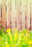 Fond en bois de barrière avec la frontière d'herbe Images stock