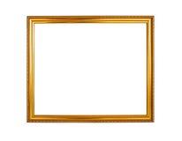 Fond en bois de cadre de photo de couleur d'or Photos stock