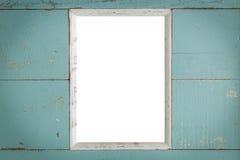 Fond en bois de cadre de vintage/cadre en bois de vintage/cadre en bois de vintage à l'arrière-plan bleu Image stock