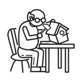Fond en bois de concept de travail de personne âgée, style d'ensemble illustration de vecteur