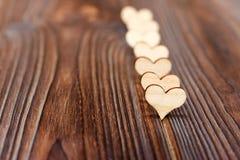 Fond en bois de forme de coeur copiez le concept d'amour de l'espace Images libres de droits
