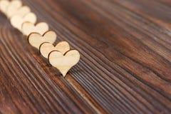 Fond en bois de forme de coeur copiez le concept d'amour de l'espace Images stock