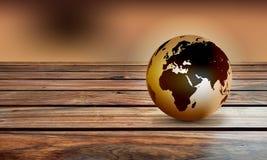 Fond en bois de globe du monde Un globe du monde sur un fond en bois rustique illustration de vecteur