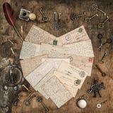 Fond en bois de lettres manuscrites de vintage Image stock
